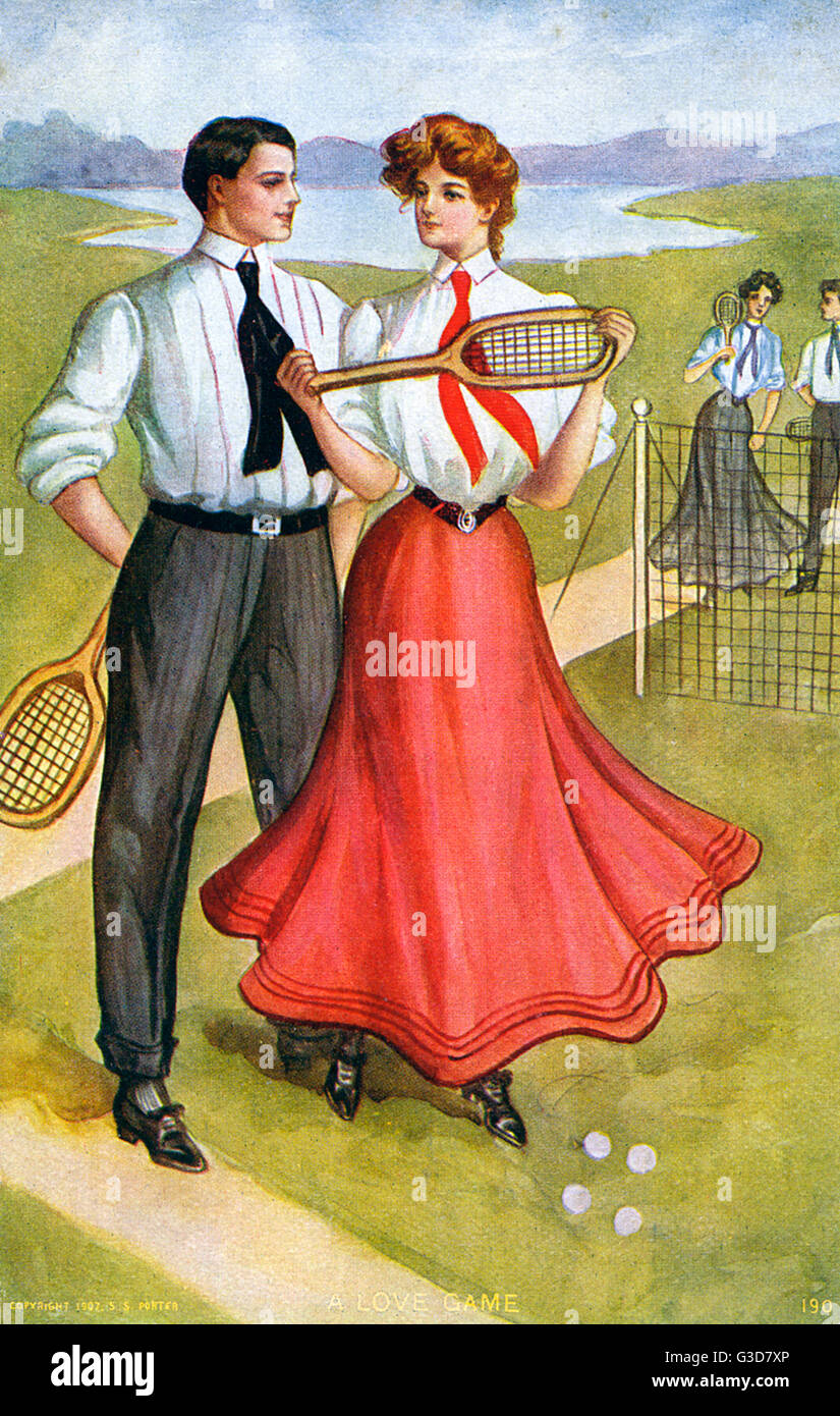Two American couples take to the court for a 'Love Match' !     Date: 1907 - Stock Image