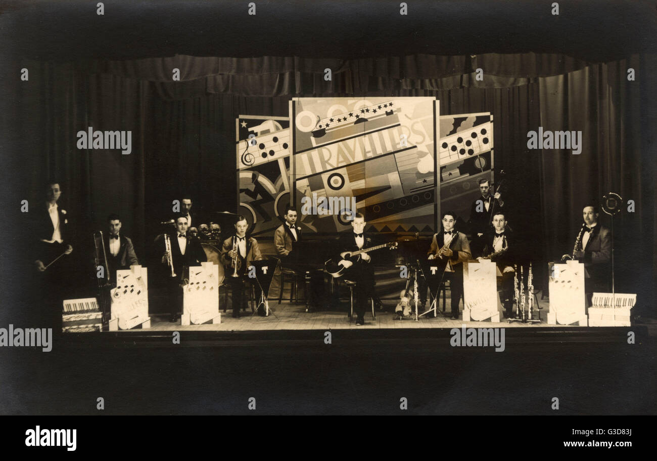 'Travellers' - A superb photograph of a Jazz Ensemble (Jazz Orchestra), who are performing in front of a - Stock Image