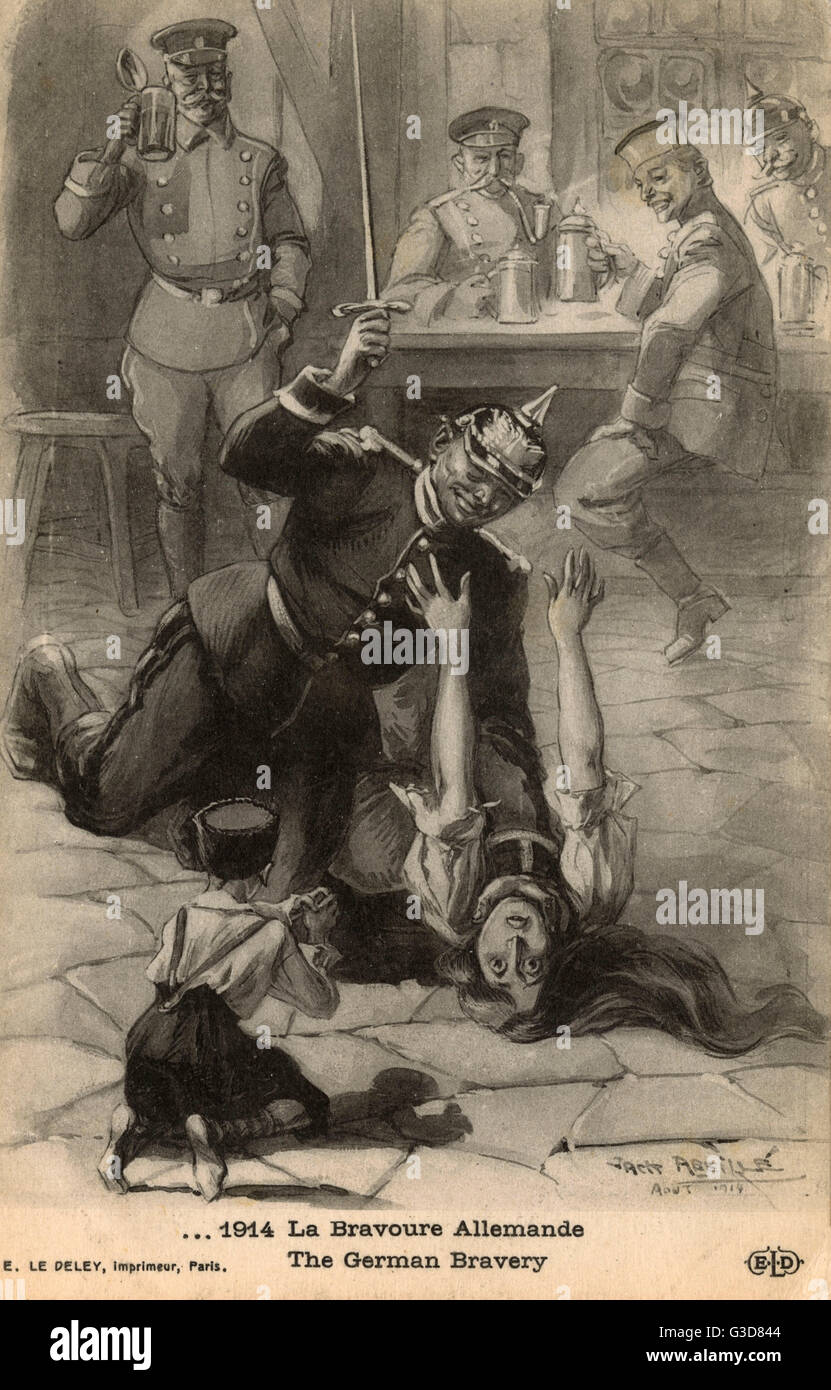 WW1 - German Brutality lampooned as 'Bravery' as a soldier attacks a defenceless Mother as her little child - Stock Image