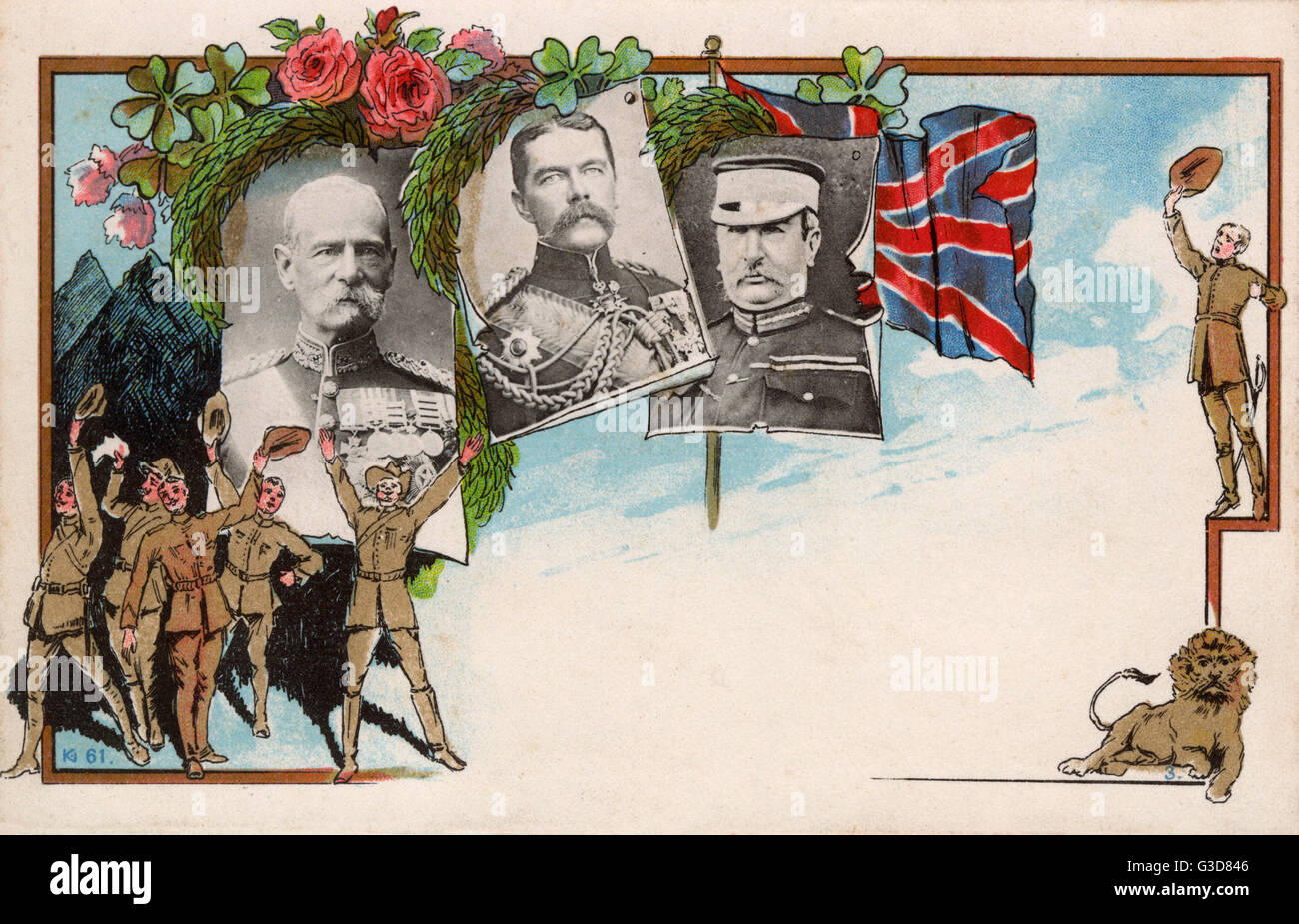 A victory celebration card showing British Commanders in South Africa at the end of the Second Boer War (1899-1902) - Stock Image