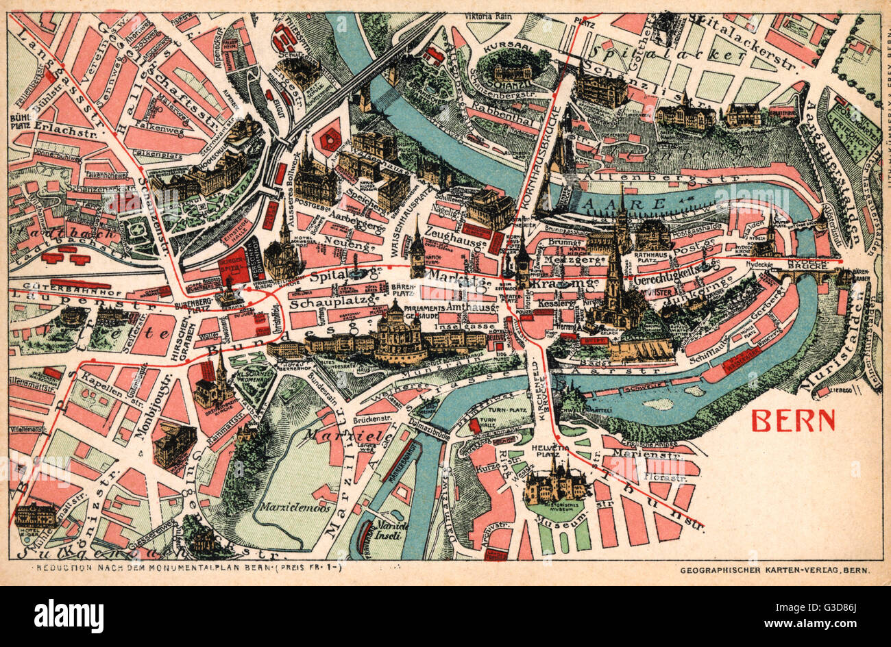 Map of Bern, Switzerland Date: 1905 Stock Photo: 105398010 - Alamy