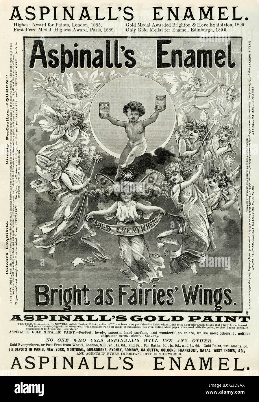 Aspinall's Enamel, paint for artist and decorators.     Date: 1890 Stock Photo
