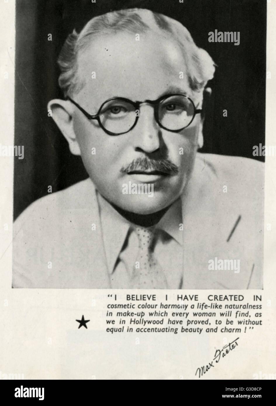 Max Factor (15 September 1872  30 August 1938), born Maksymilian Faktorowicz, Polish-Jewish businessman. Founder - Stock Image