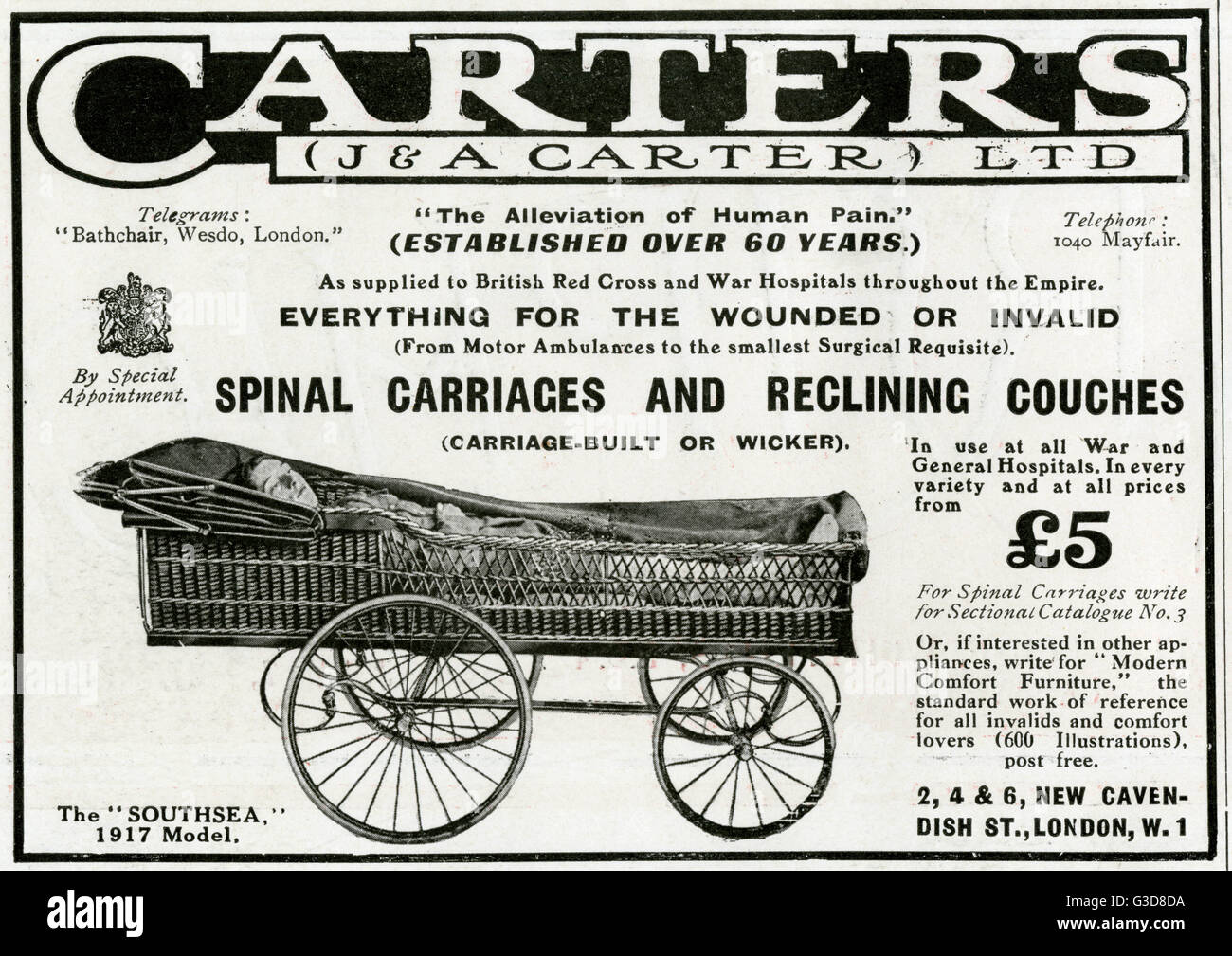 Advertisement for Carters spinal wicker carriages and reclinning couches.     Date: 1917 - Stock Image