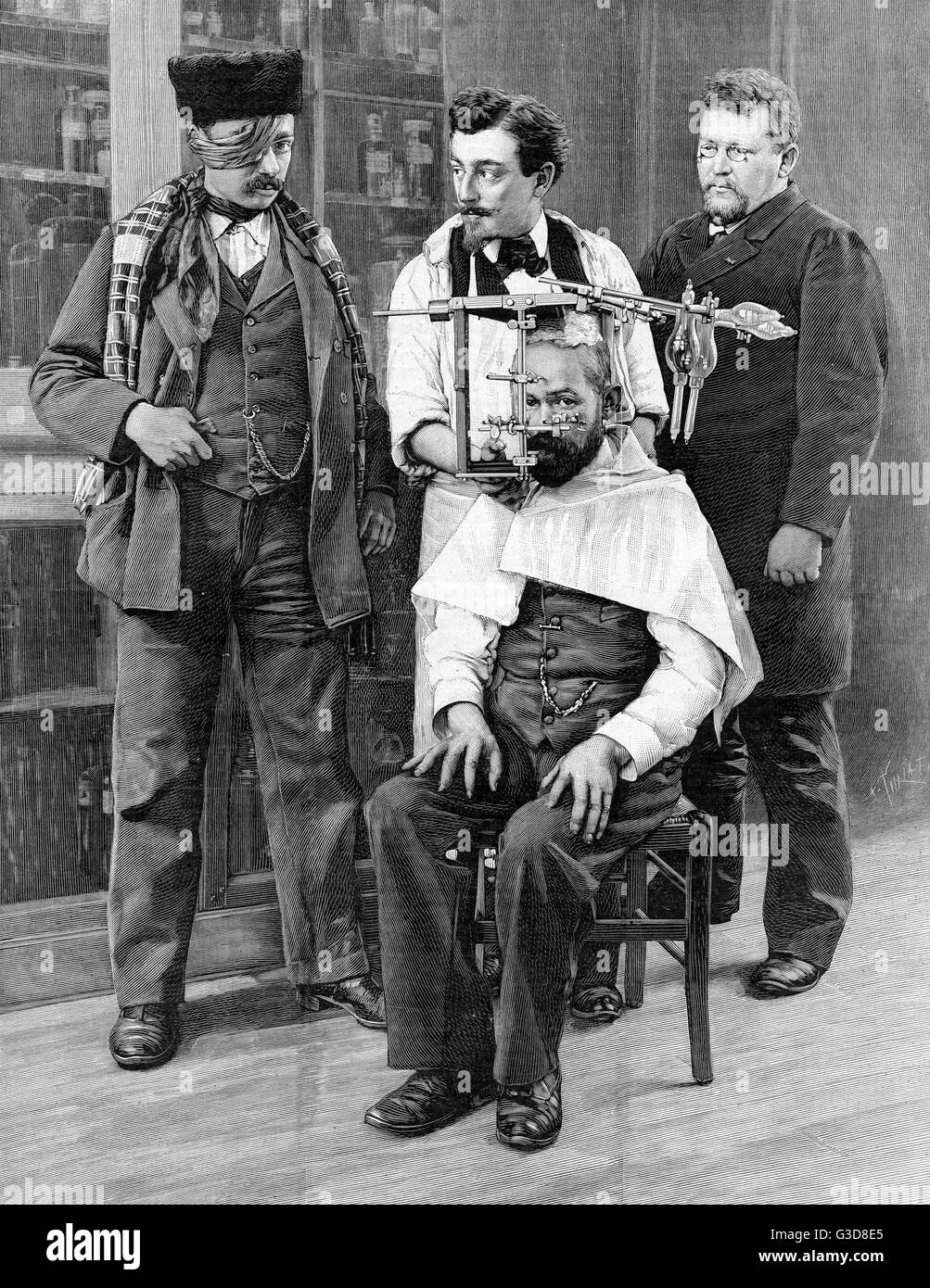Brain stereotaxy - using apparatus to locate the target of a medical operation.     Date: 1897 Stock Photo