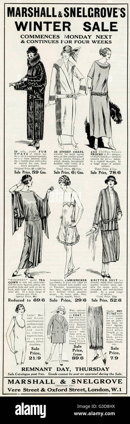 Advertisement for Marshall & Snelgrove, department store in Oxford Street, saling a selection of women's garments. Stock Photo