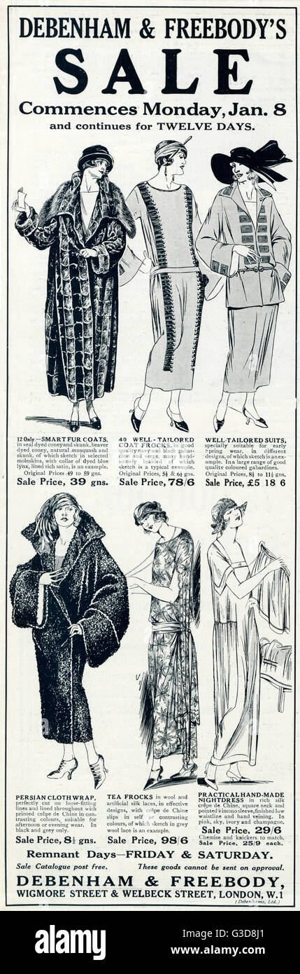 Advertisement for Marshall & Snelgrove, department store in Oxford Street, saling a selection of women's - Stock Image