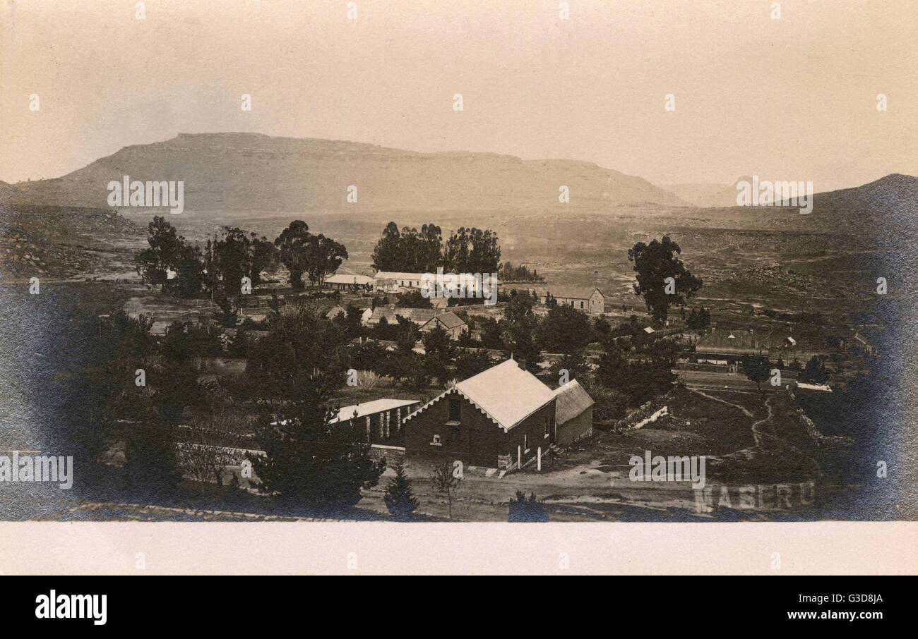 General view of Maseru, capital of Basutoland (now Lesotho), South Africa.      Date: circa 1906 - Stock Image