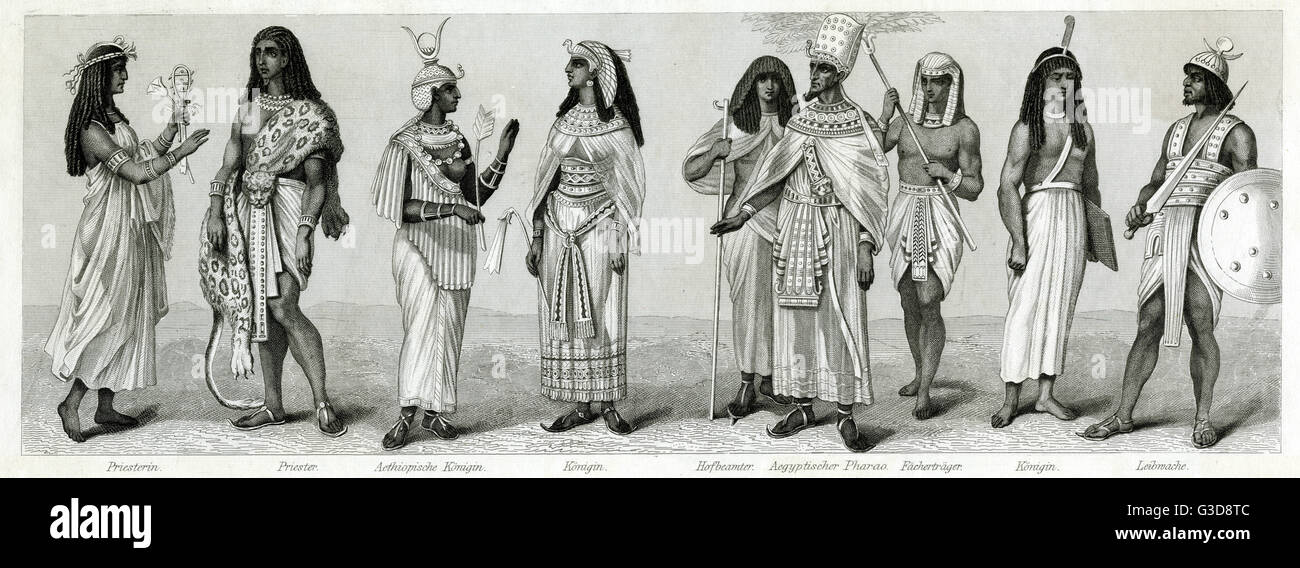 Variety of clothing from Ancient Egypt. From left to right: priestess, priest, Ethiopian king, queen, court official, - Stock Image