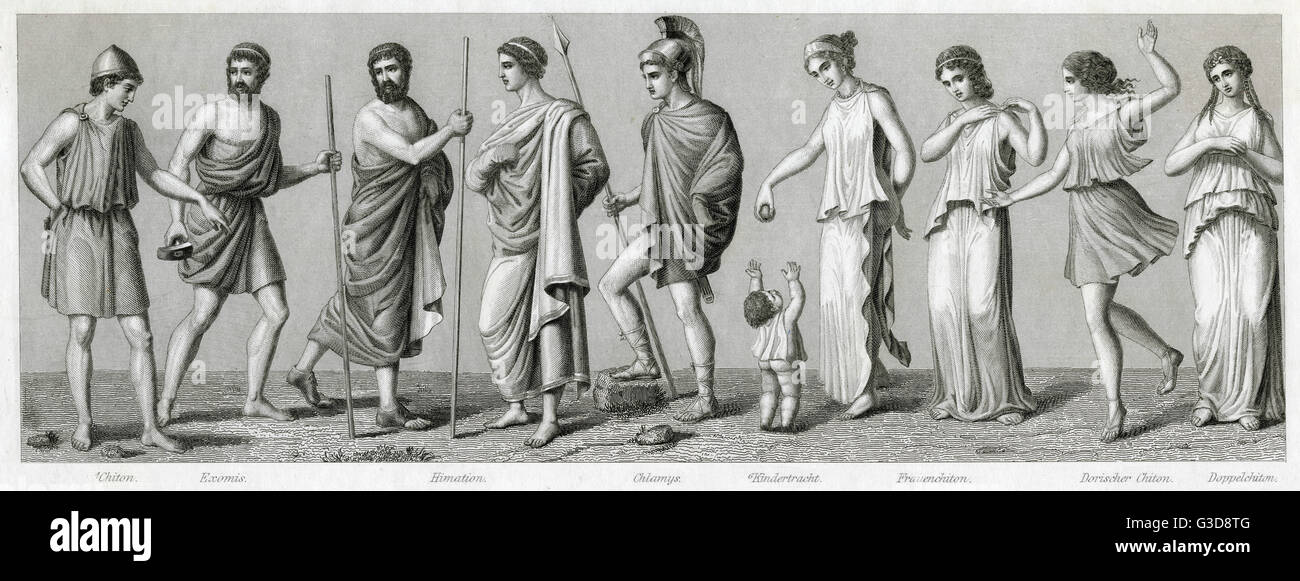 Ancient Greek costume. From left to right: chiton, exomis, man and woman in himation, chlamys, child's costume, - Stock Image