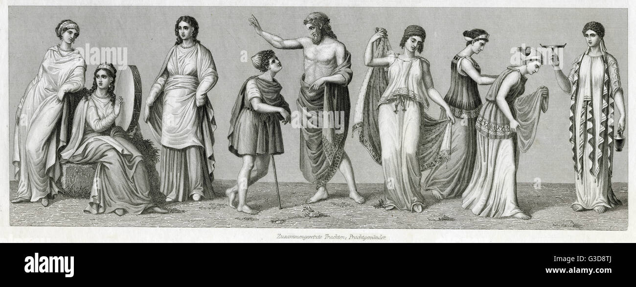 Ancient Greek costume, a variety of combinations of high quality dress for men and women.   BCE - Stock Image