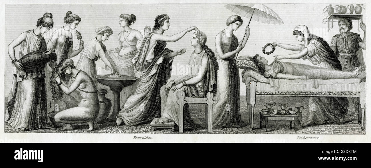 Ancient Greek costume, from left to right: seven women carrying out daily activities, two women and a man mourning Stock Photo