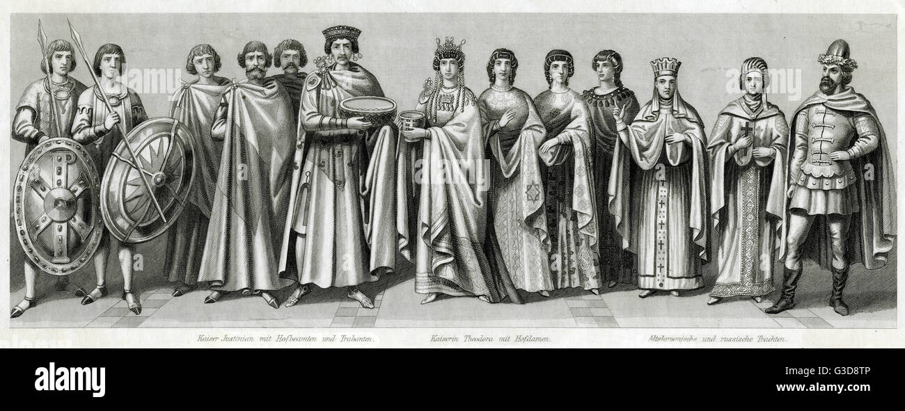 Medieval costume, from left to right: Byzantine Emperor Justinian with court officials and guards, Empress Theodora - Stock Image