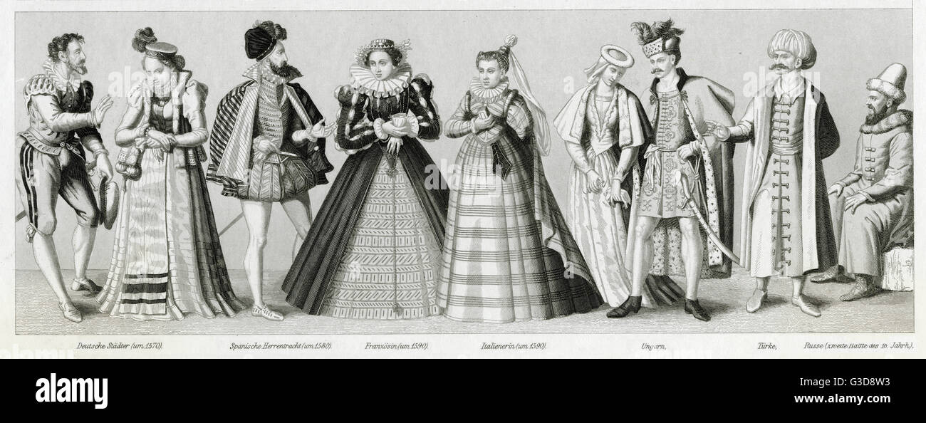 Renaissance costume, from left to right: German townspeople (man and woman) circa 1570, Spanish man circa 1580, - Stock Image