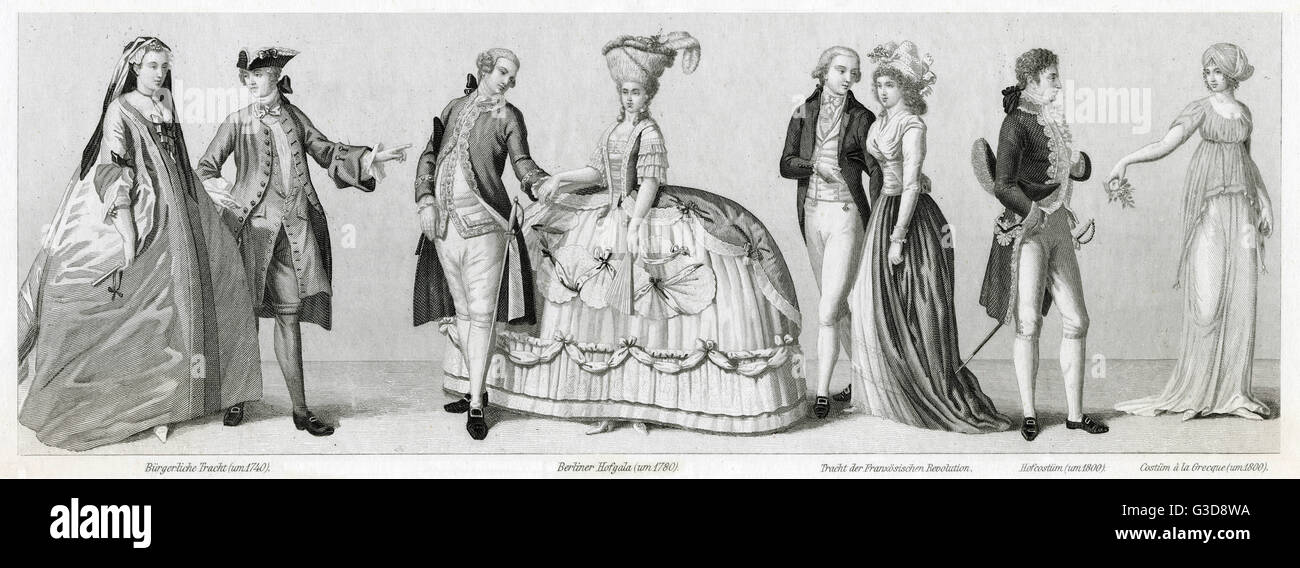 Costume styles, 18th century, from left to right: middle class couple circa 1740, couple from Berlin in special - Stock Image