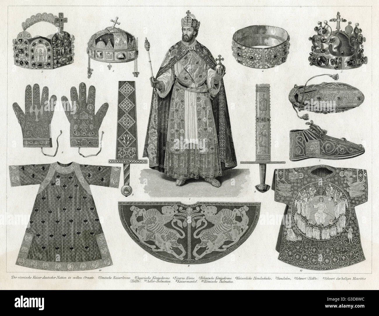 Holy Roman Emperor (possibly based on Ferdinand I or Maximilian II) in full regalia at the centre, surrounded by - Stock Image