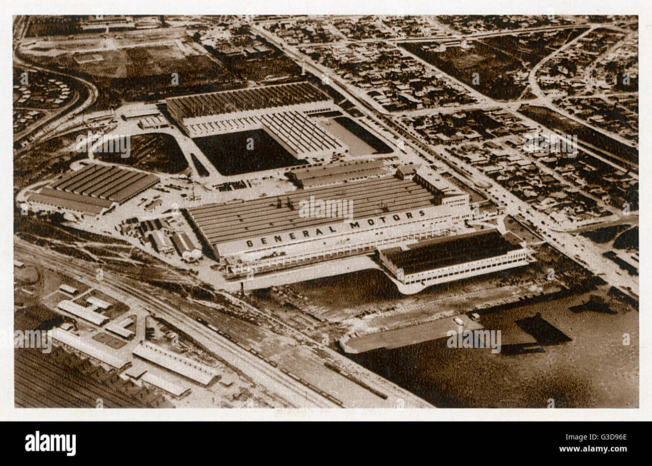 Aerial view of a General Motors factory in South Africa (possibly in Port Elizabeth), for the manufacture of Chevrolet, - Stock Image