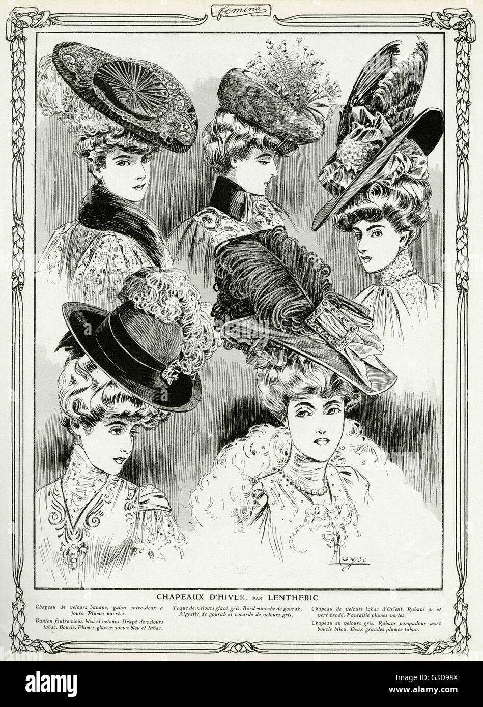Womens hats were an essential part of fashion in Edwardian times with hair worn high and hats slanted with plumes - Stock Image