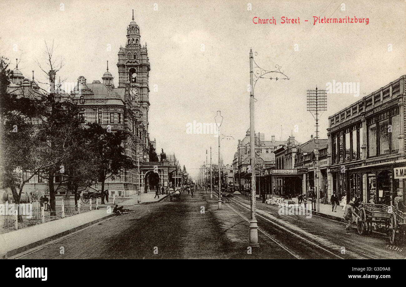 Church Street, Pietermaritzburg, Natal Province, South Africa, with the City Hall on the left.      Date: circa Stock Photo