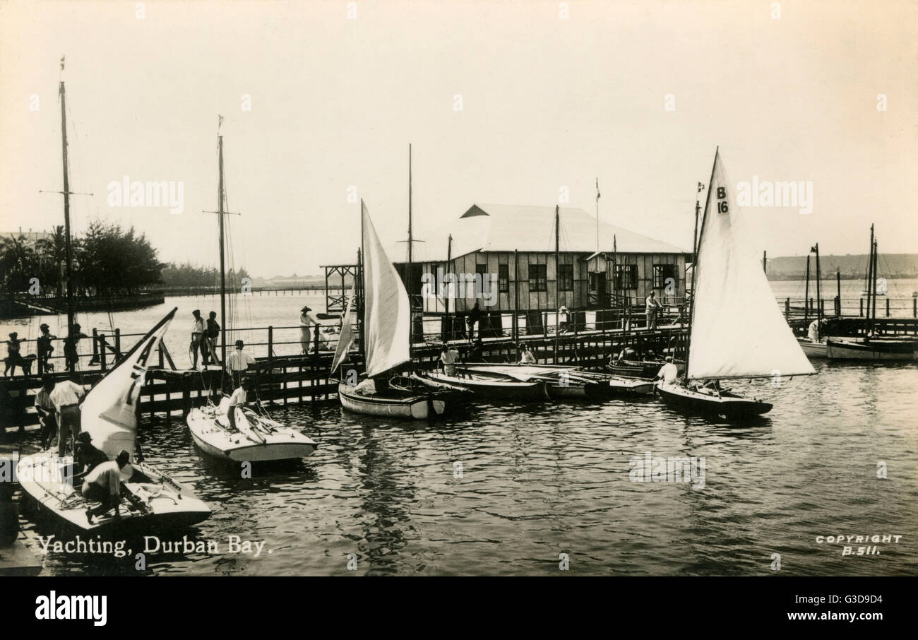 Yachting in the bay, Durban, Natal Province, South Africa.      Date: circa 1930 - Stock Image