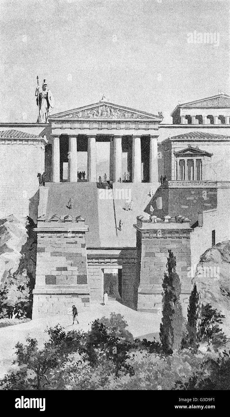 The Propylaea, or gateway to the Acropolis in Athens, were composed entirely of Pentelic marble, and poised beyond Stock Photo