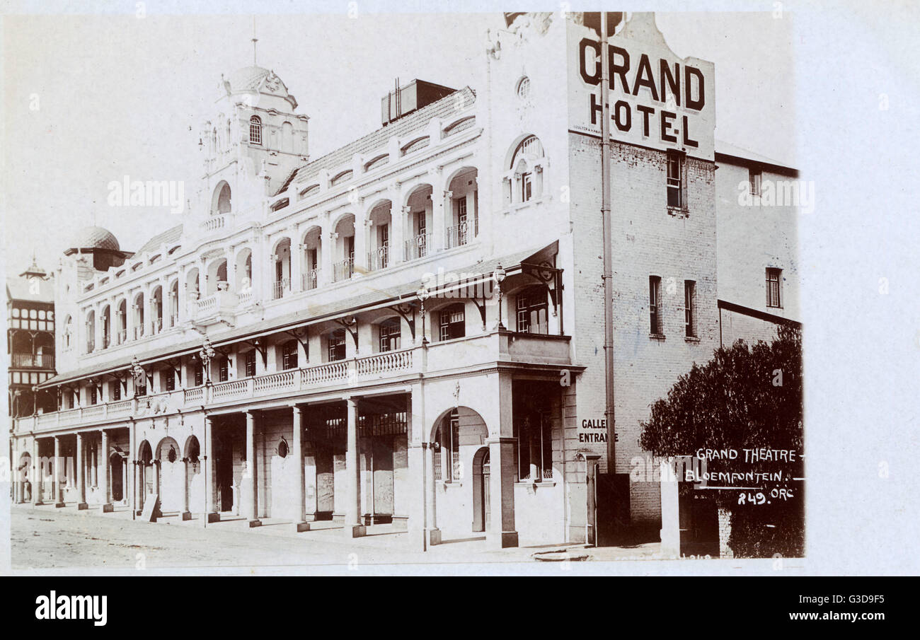 Grand Hotel and Theatre, Hanger Street, Bloemfontein, Orange River Colony, South Africa.      Date: 1909 - Stock Image