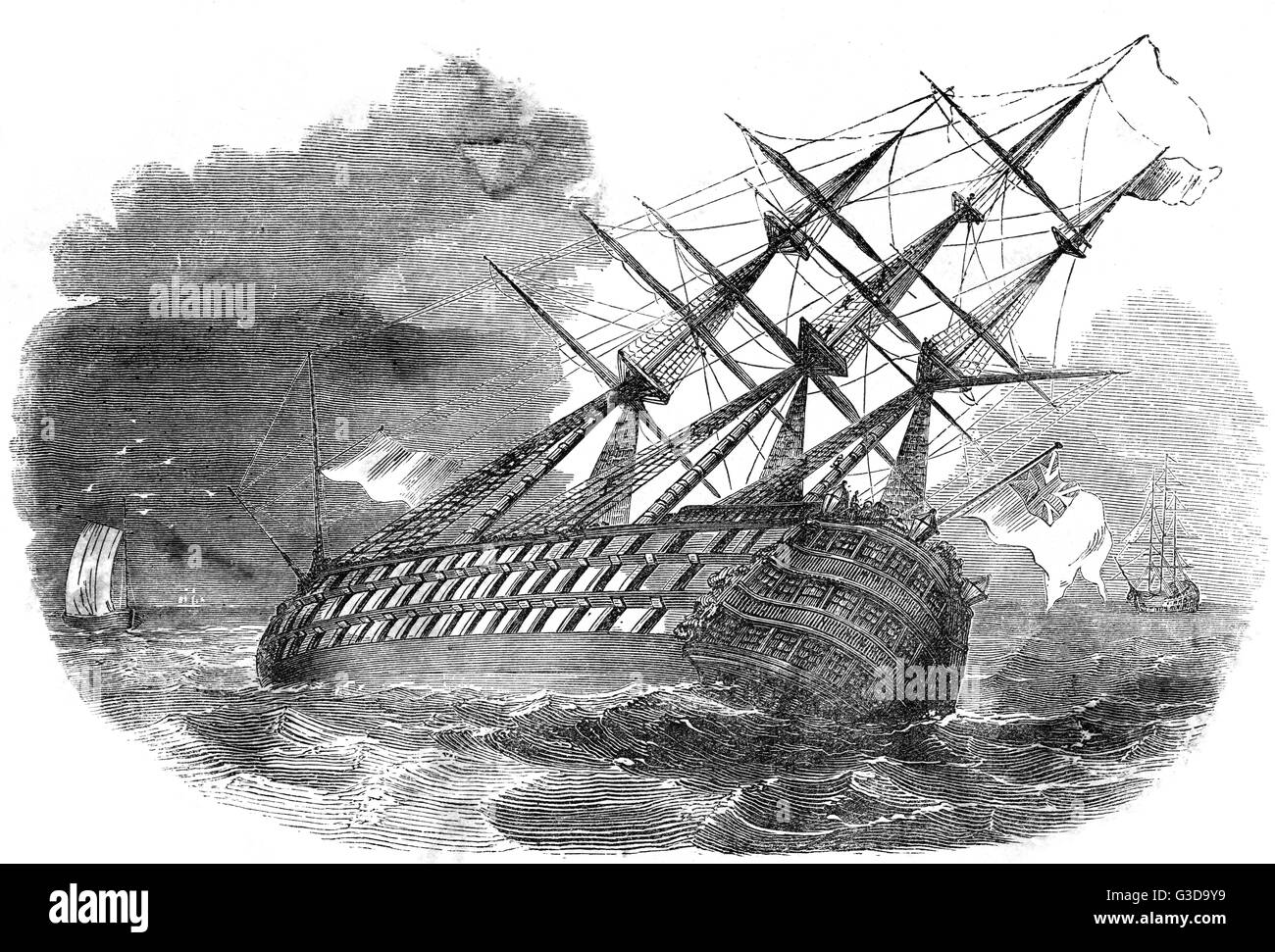 The HMS Royal George was built at Woolwich Dockyard and launched in 1756, and sank whilst anchored off Portsmouth - Stock Image