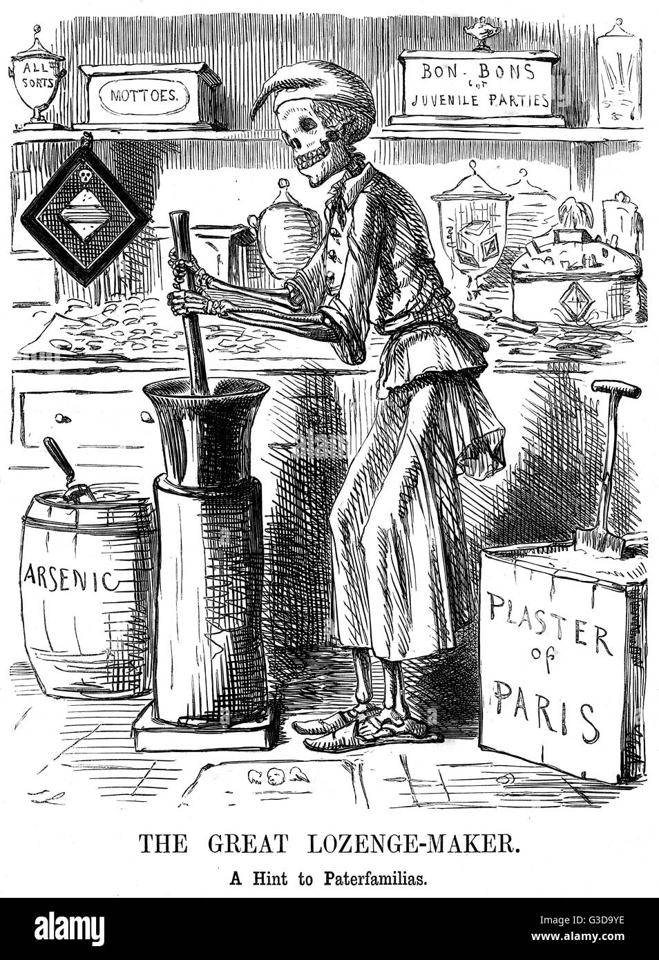 The Great Lozenge-Maker - a hint to paterfamilias.  Cartoon by John Leech in Punch alluding to the Bradford Sweet - Stock Image