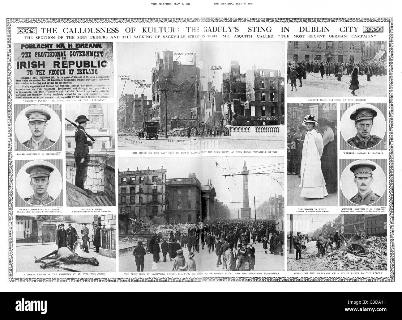 The callousness of Kultur: the gadfly's sting in Dublin City. The sedition of the Sinn Feiners and the sacking - Stock Image