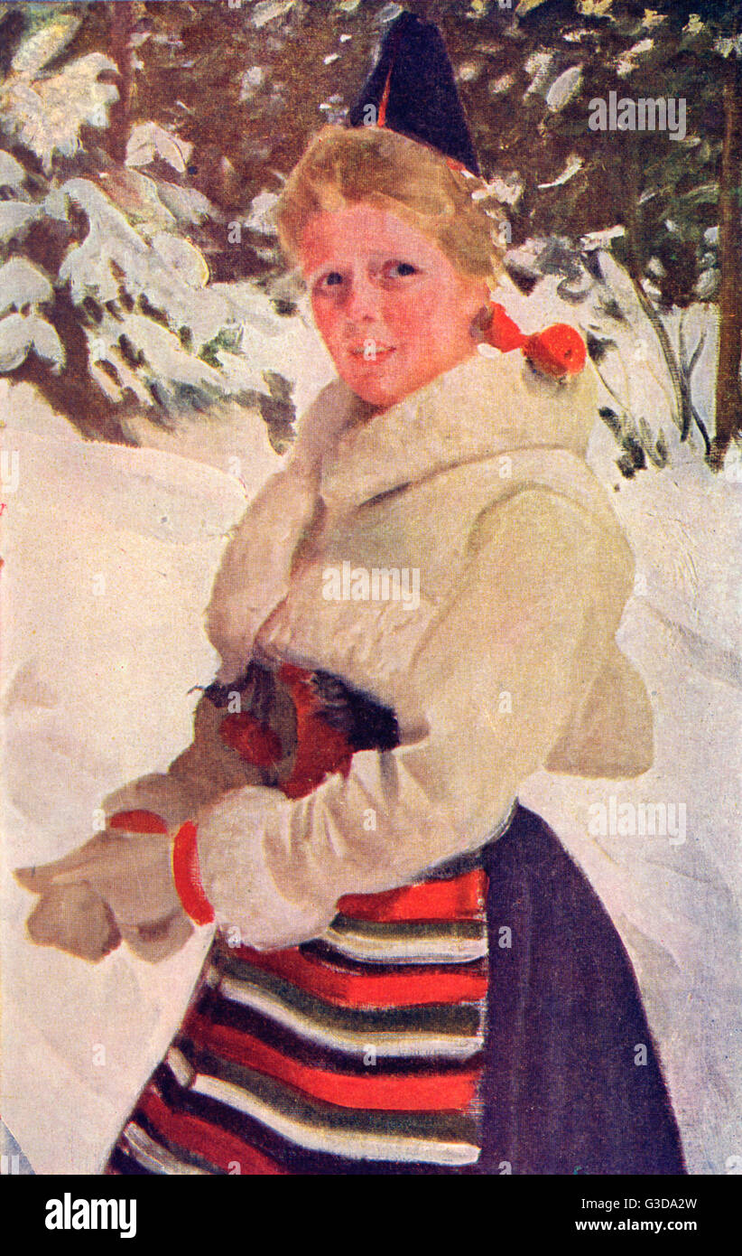 A Girl from Rattvik, Rattvik Municipality, Dalarna County, Sweden - in traditional costume.     Date: 1922 - Stock Image