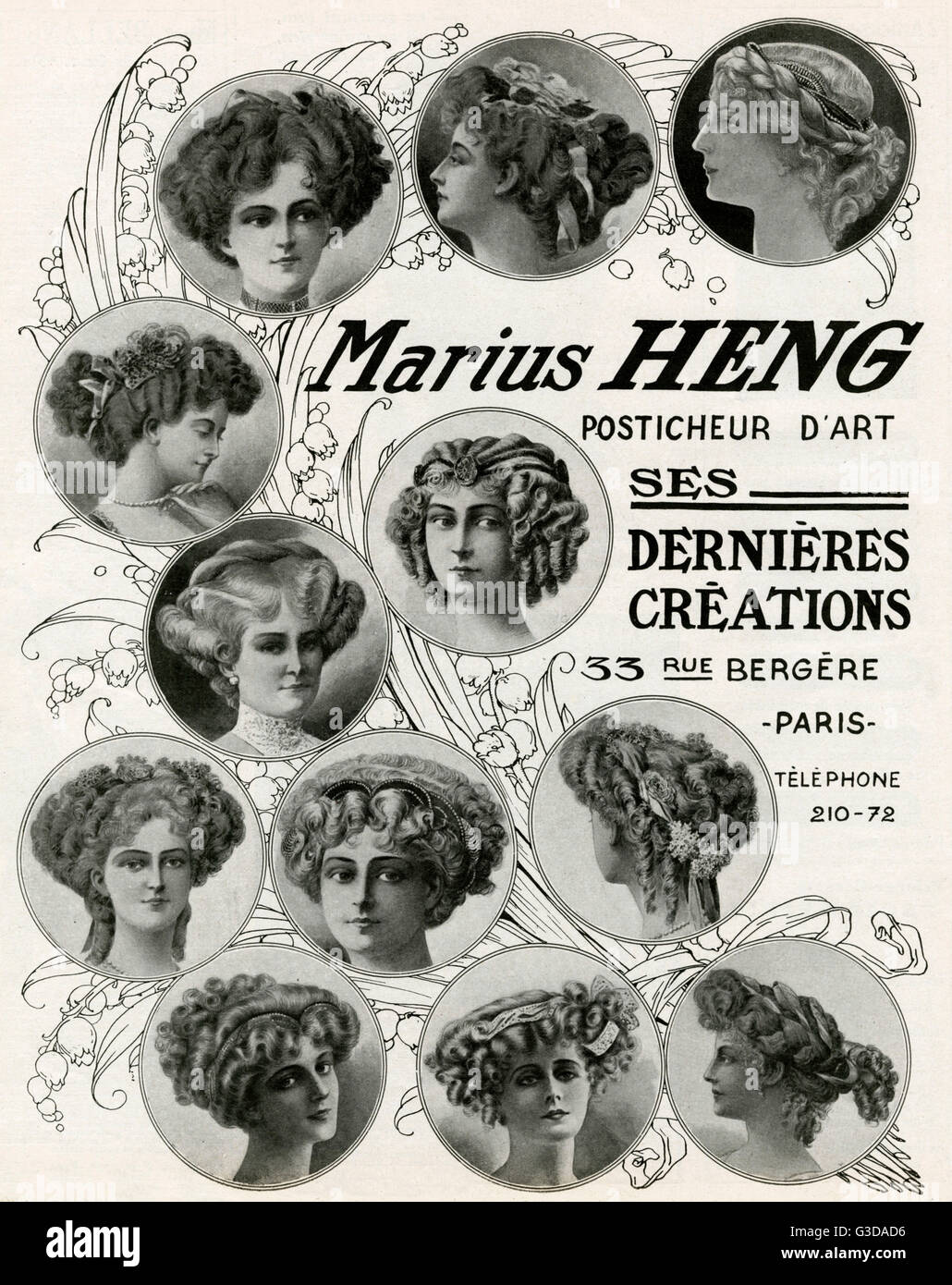 Latest creations for Marius Heng, hair styles with accessories.     Date: 1909 - Stock Image