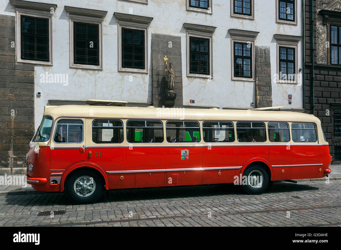 Historical Czech coach, veteran type Skoda 706 RTO standing on the Republic square, Plzen, Czech Republic - Stock Image