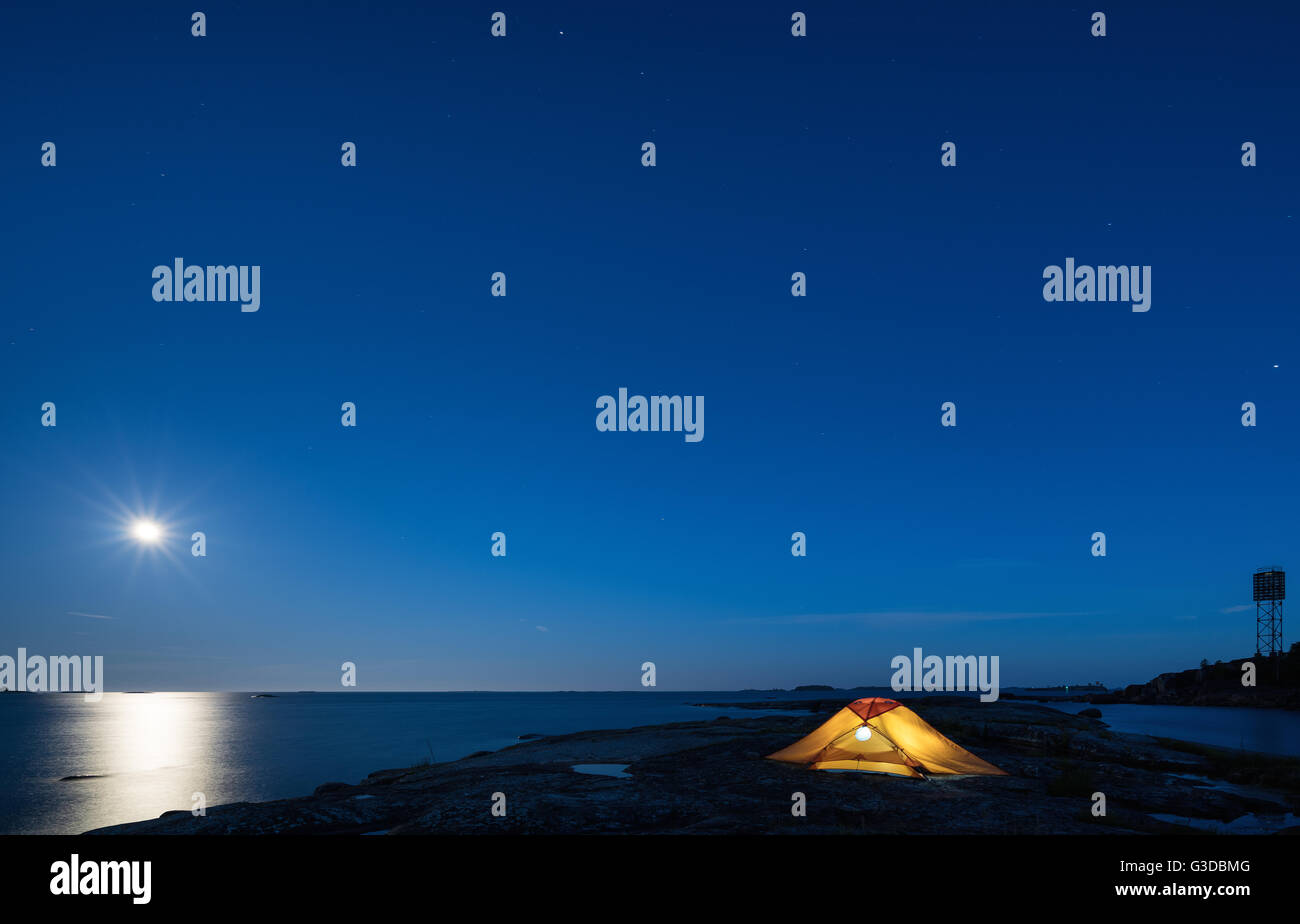 Full moon at Mellanlandet island, Kirkkonummi, Finland, Europe, EU - Stock Image