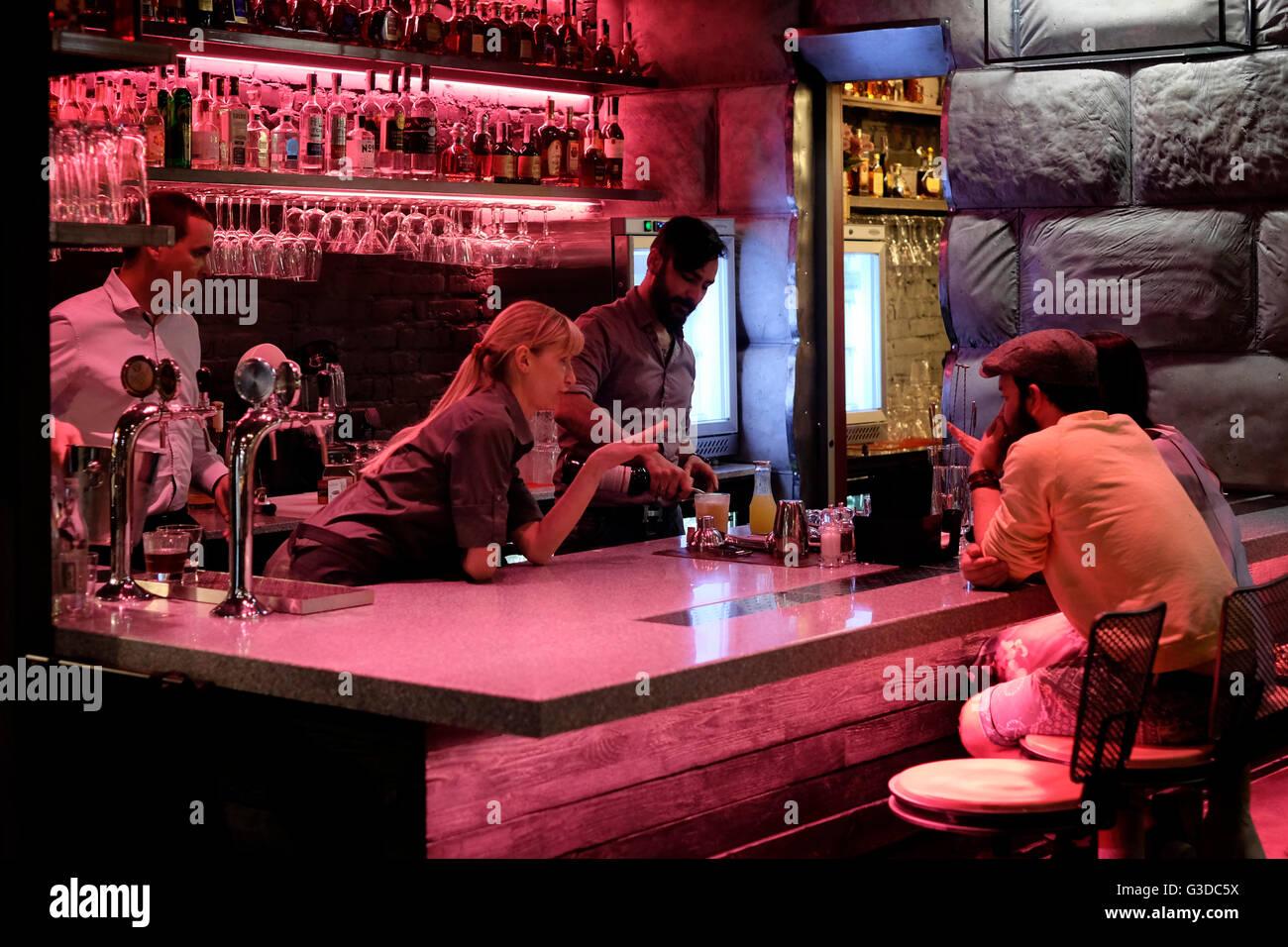 The bar scene in Ostannya Barikada a stylish restaurant in Kiev ...