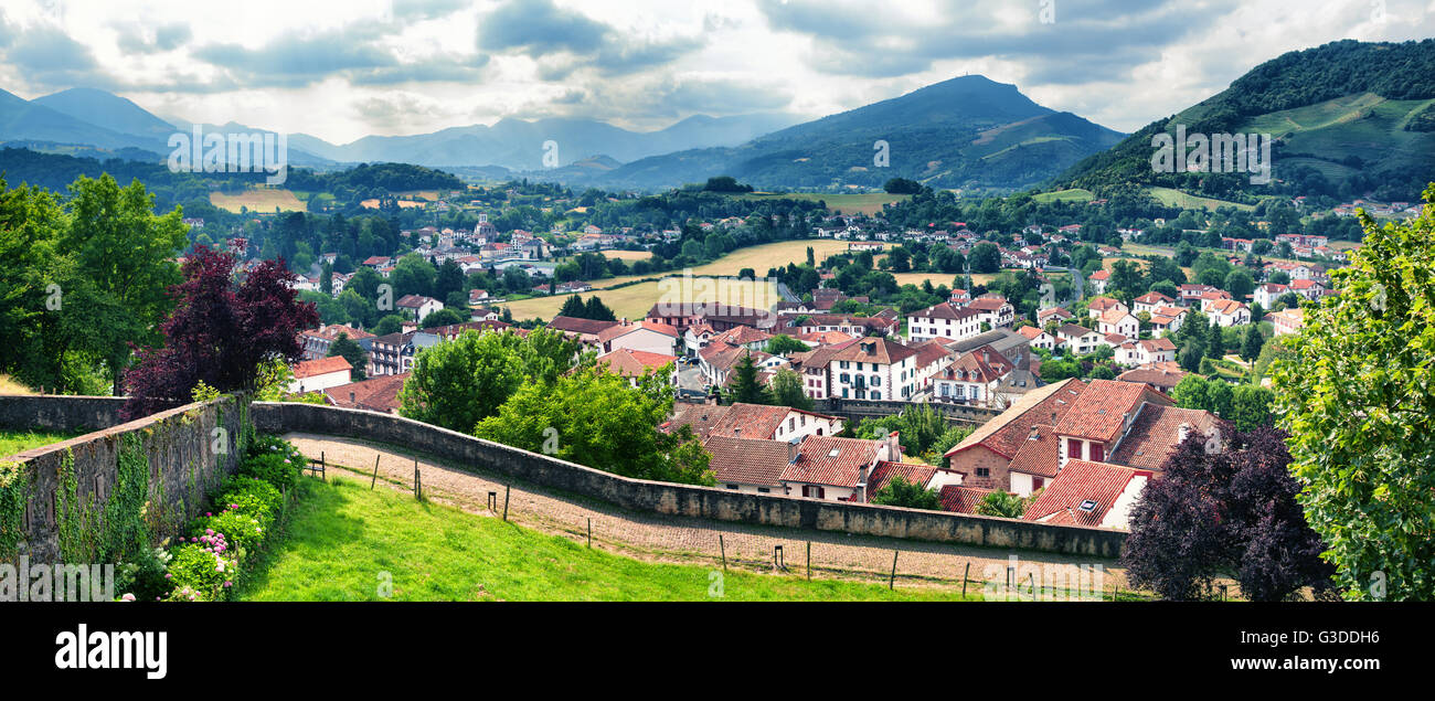Panorama of Pays Basque in Saint Jean Pied de Port, France - Stock Image