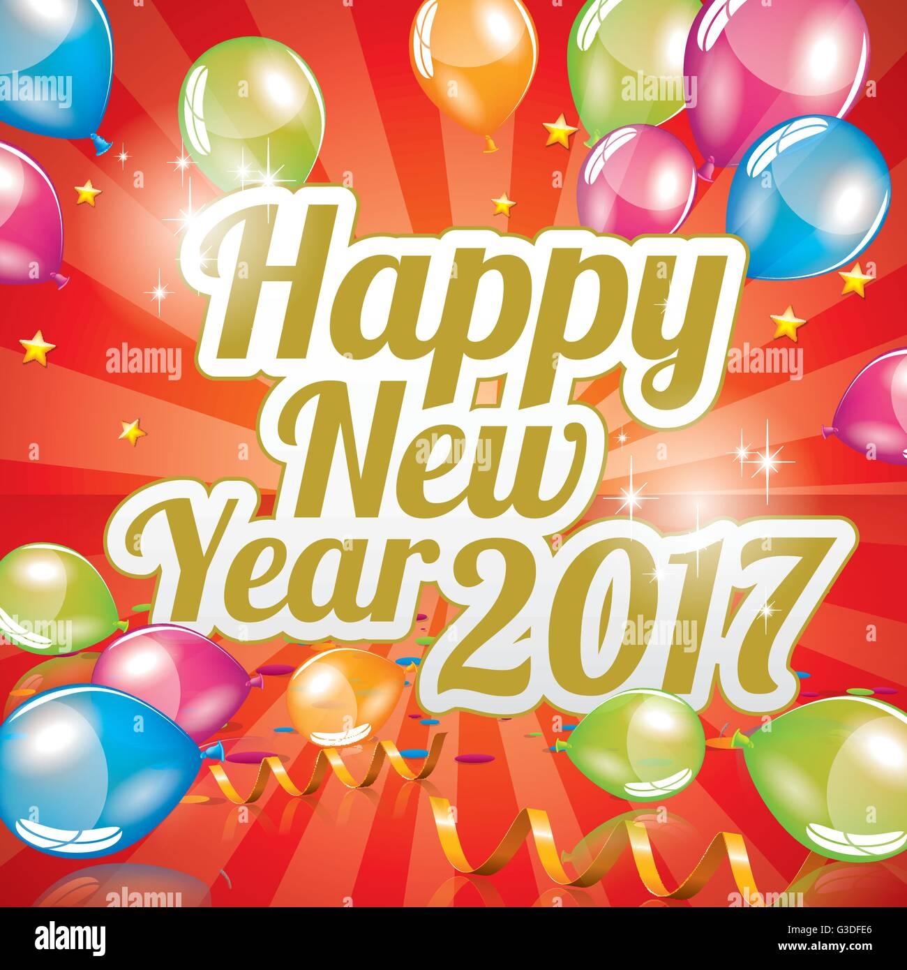 Happy New Year 2017 Greeting Card Full Vector Stock Vector Art