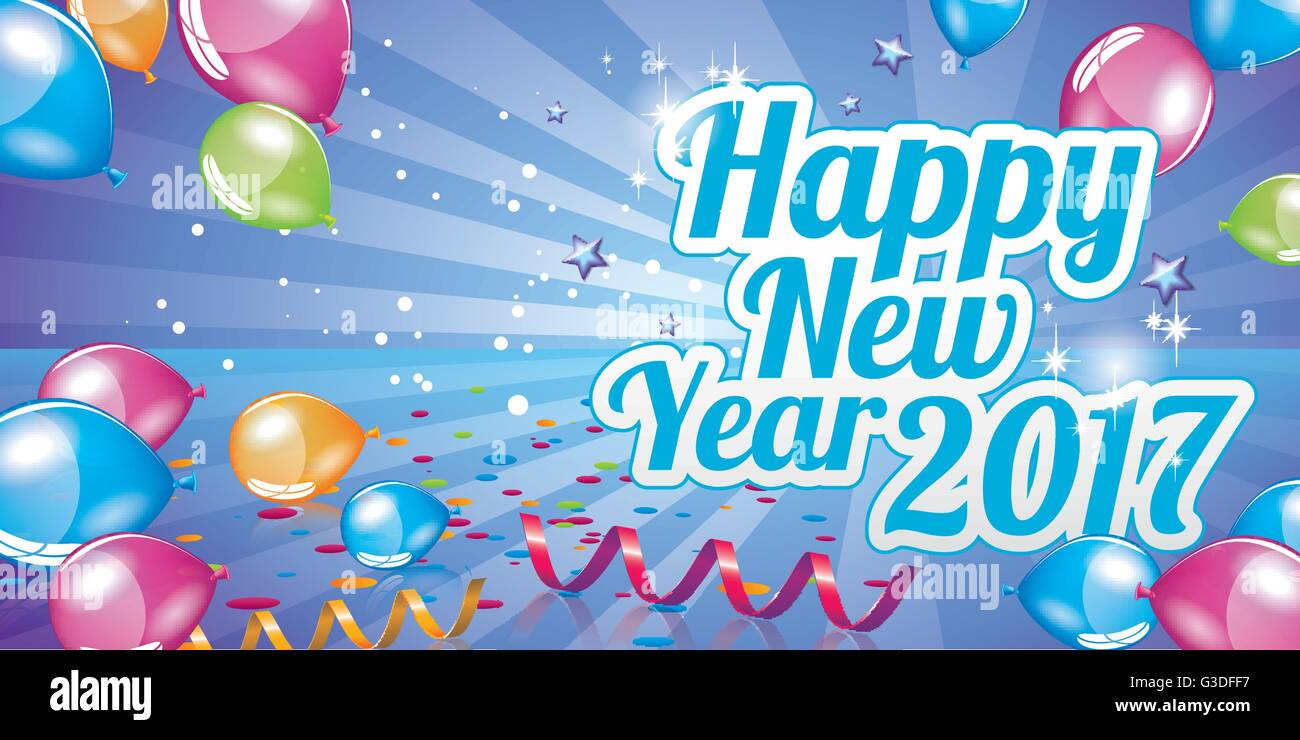 Happy New Year 2017 Greeting Card Full Vector Stock Vector Art