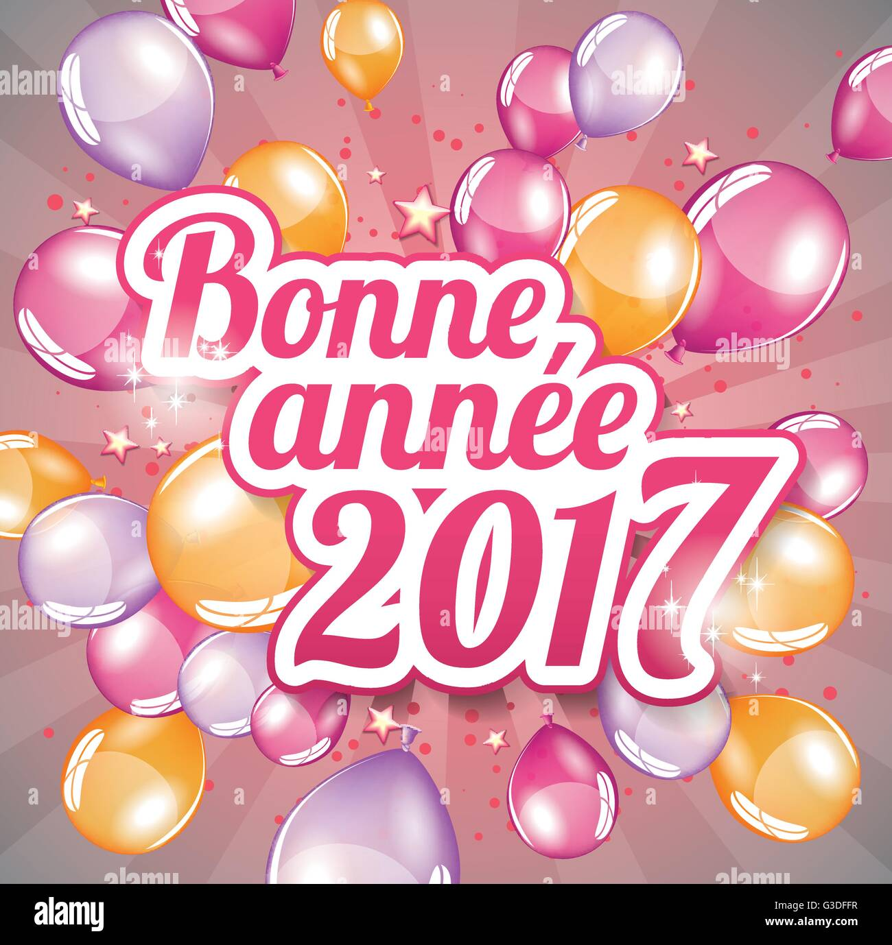 french greeting card happy new year 2017 full vector