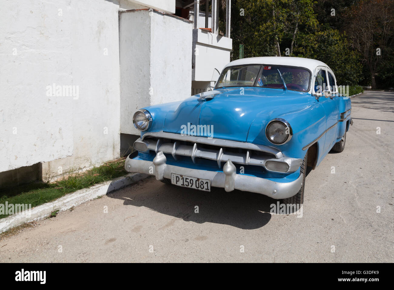 Classic American Light Blue Car With White Roof, Cuba