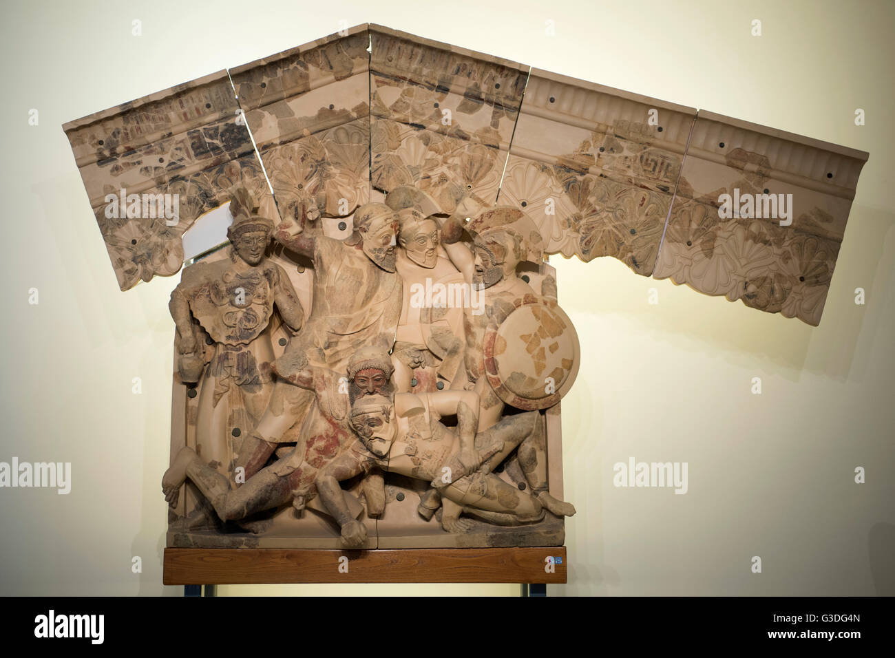 Italien, Rom, Museo Nazionale Etrusco di Villa Giulia, etruskischer Giebel - Stock Image
