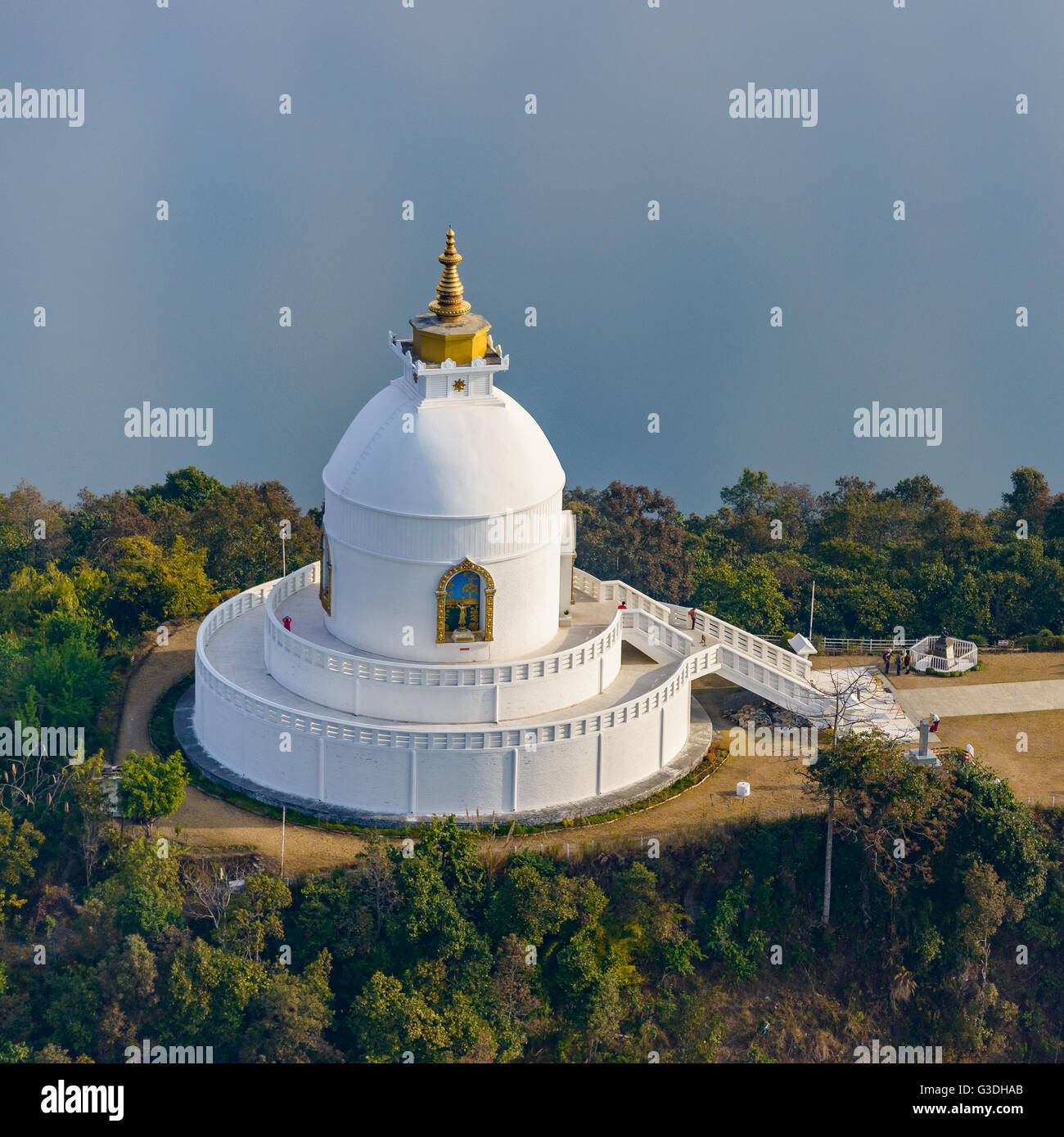 Aerial view of the World Peace Pagoda in Pokhara, Nepal - Stock Image