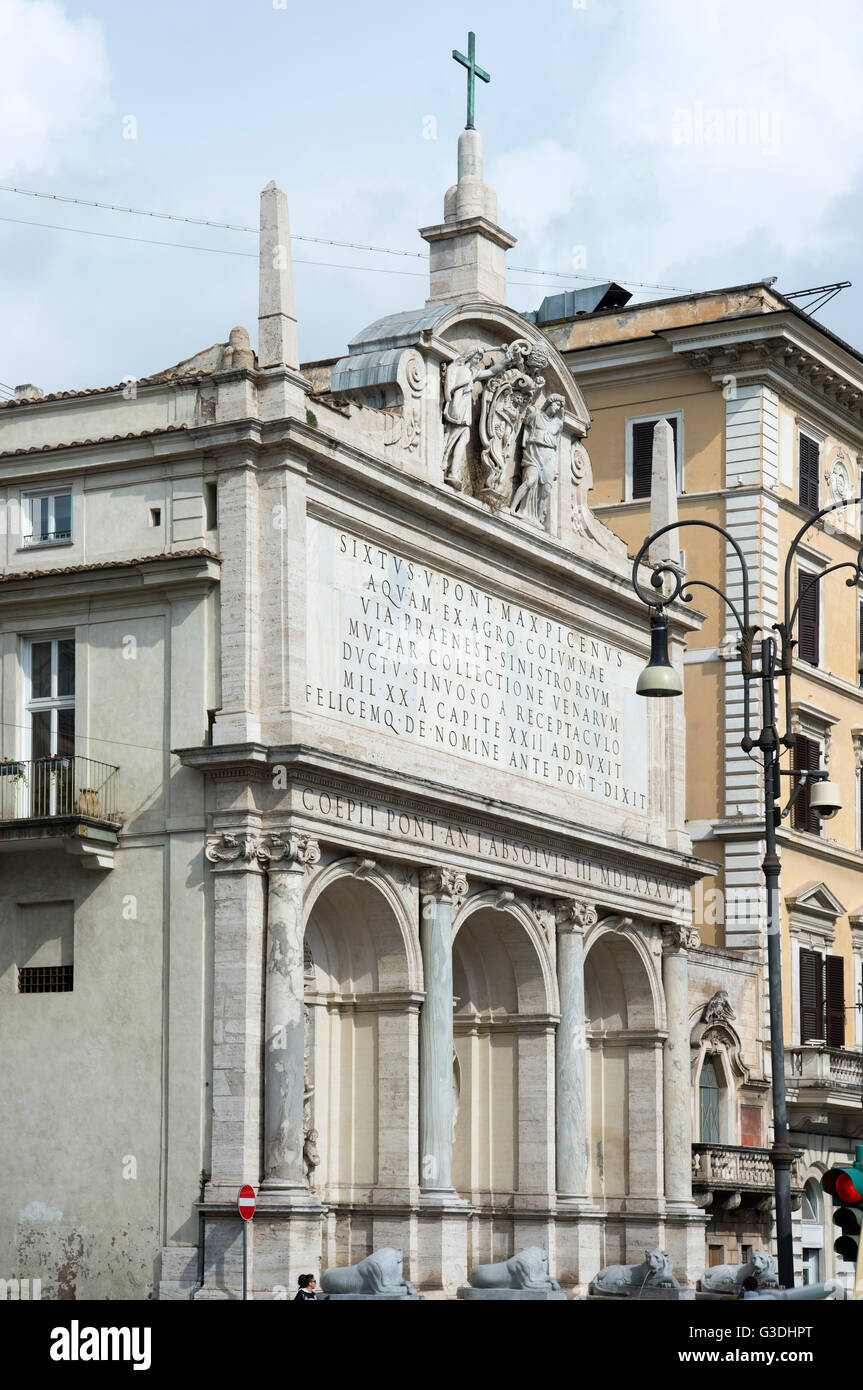Italien, Rom, Piazza San Bernardo auf dem Quirinal, Mosesbrunnen (Fontana dell'Acqua Felice oder Fontana del Mosè), - Stock Image