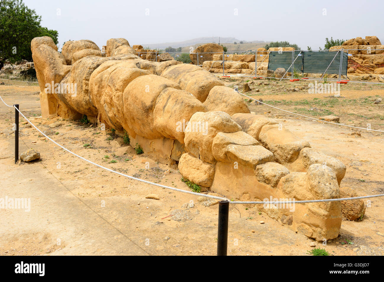 Telamon Temple of Olympian Zeus in Valley of the Temples (Valle dei Templi), Agrigento, Sicily, Italy - Stock Image