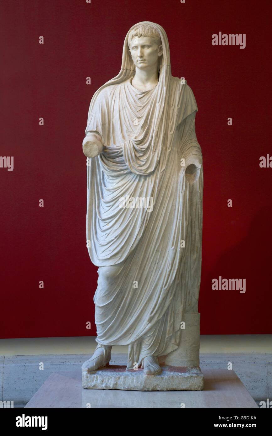 Augustus as Pontifex Maximus, or  High Priest, Palazzo Massimo alle Terme, National Museum of Rome, Italy, - Stock Image