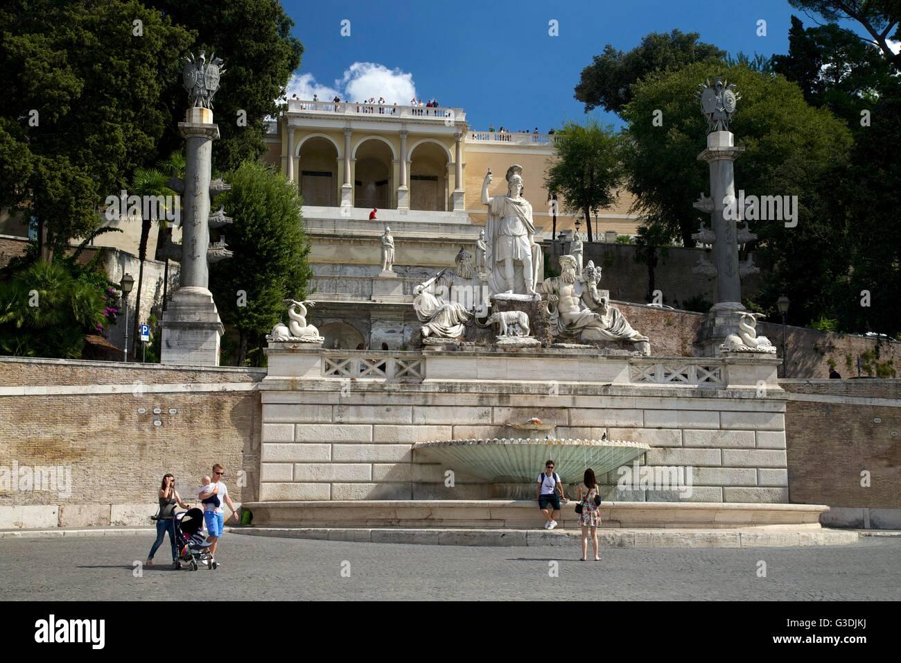 Pincio Terrace with statues of the Goddess Roma between Tiber and Aniene, Piazza del Popolo, Rome, Lazio, Italy, - Stock Image