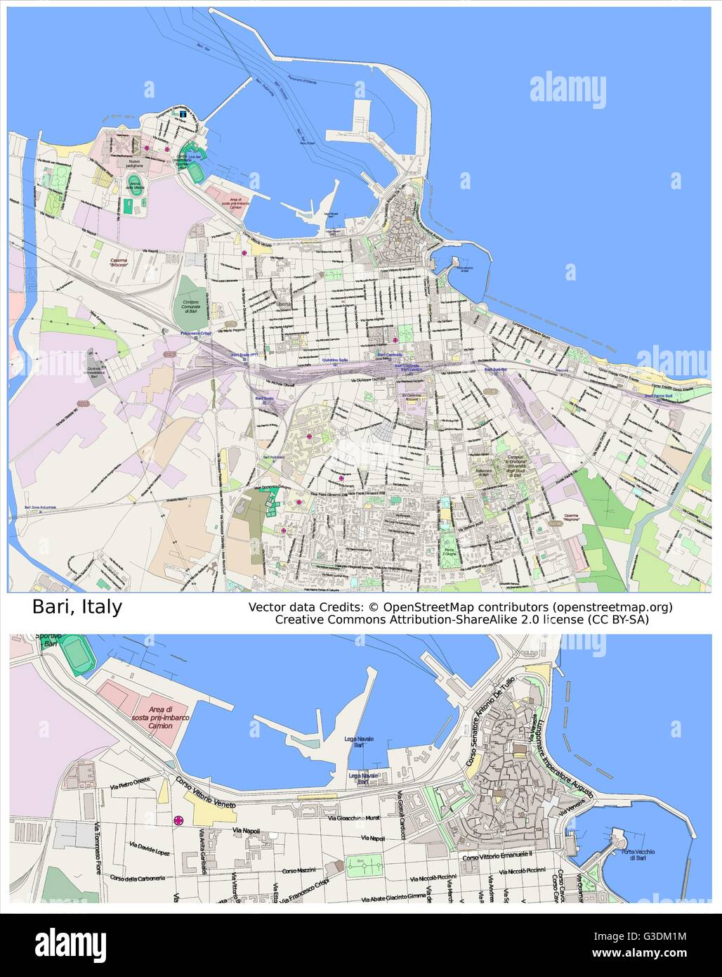 Bari Italy city map Stock Vector Art Illustration Vector Image
