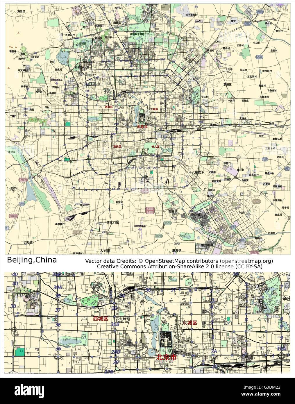 Beijing China city map - Stock Image