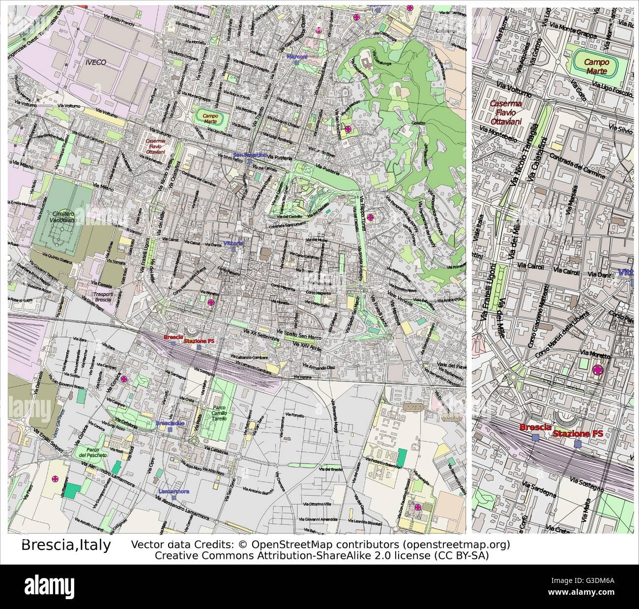 Brescia Italy city map Stock Vector Art Illustration Vector Image