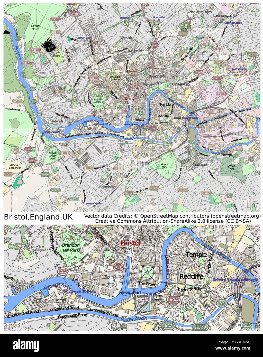Map Of Bristol Uk.Bristol England Uk City Map Stock Vector Art Illustration Vector