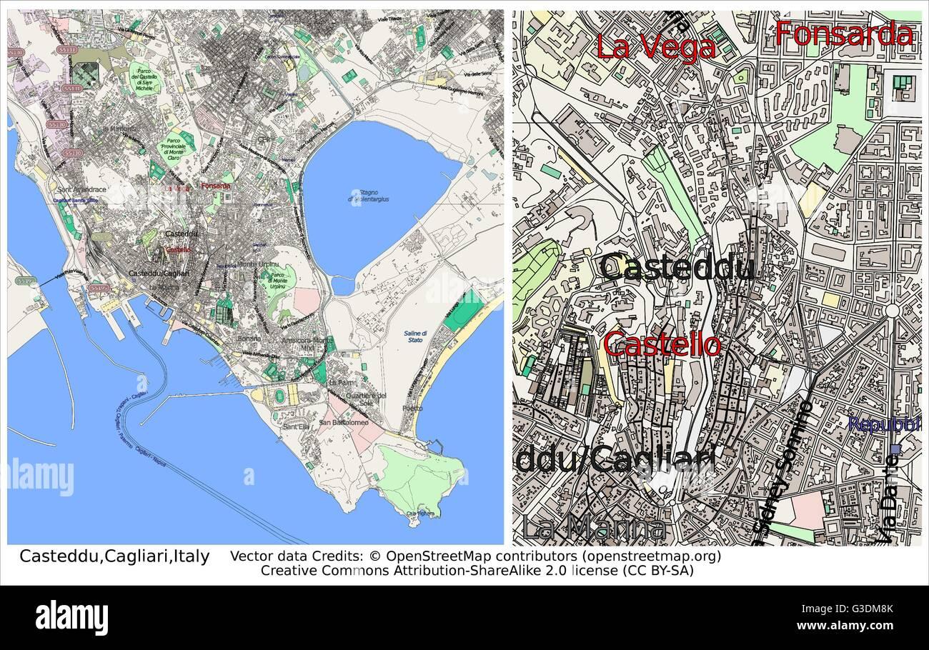 Casteddu cagliari italy city map stock vector art illustration casteddu cagliari italy city map altavistaventures Image collections